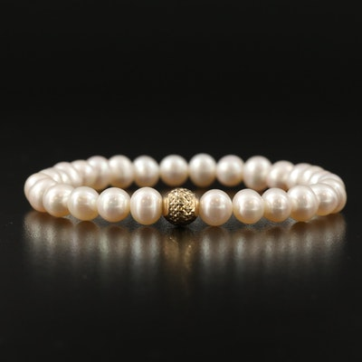Pearl Stretch Bracelet with 14K Accent Bead