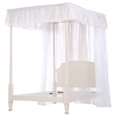Ivory-Painted Four-Post Bed Frame with Canopy and Linen Drapery, 20th Century
