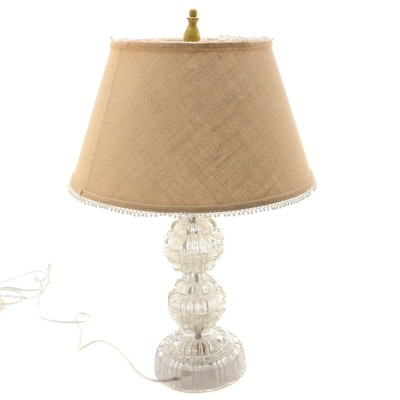Pressed Glass Table Lamp with Burlap Shade