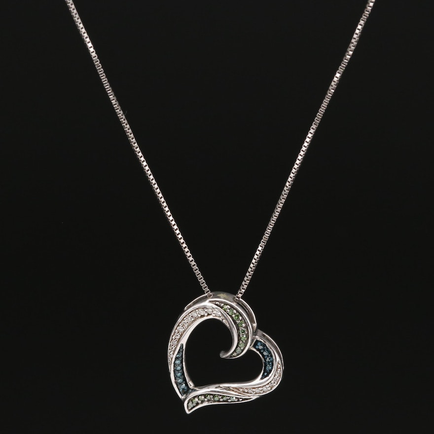 Sterling Silver Diamond Heart Pendant Ring