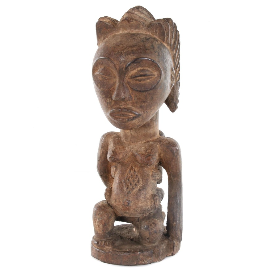 Hemba Style Hand-Carved Wood Maternity Figure with Child, Central Africa