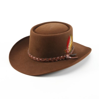 Stetson 4X Beaver Felt Cowboy Hat with Braided Leather Band and Feathers