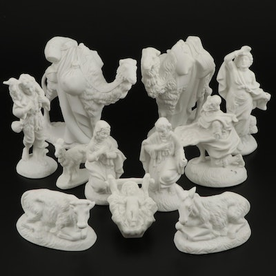 Bisque Nativity Scene Set, Mid to Late 20th Century