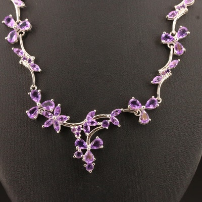 Sterling Silver Amethyst Foliate Necklace