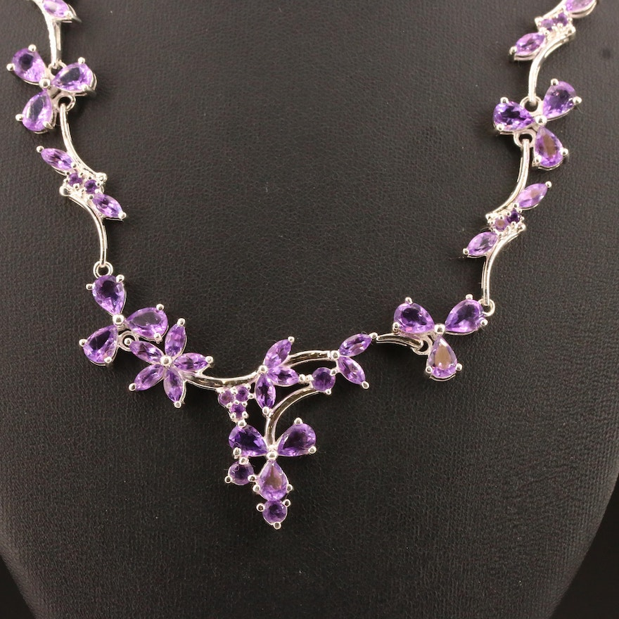 Sterling Silver Amethyst Foliate Necklace