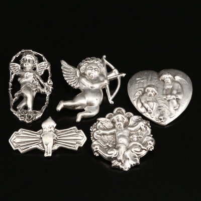 Sterling Silver Cherub Angel Brooches with Converter Brooch
