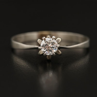 18K 0.35 CT Diamond Solitaire Ring