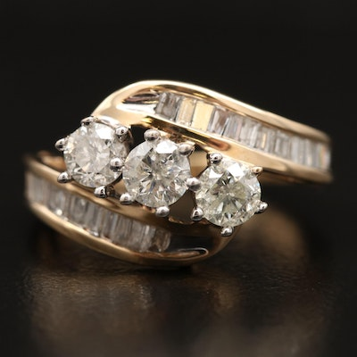 14K 1.33 CTW Diamond Bypass Ring