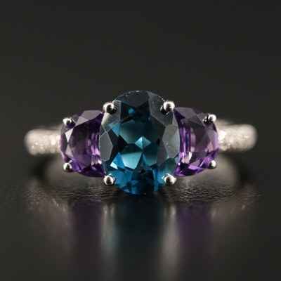 Sterling London Blue Topaz, Amethyst and Diamond Ring