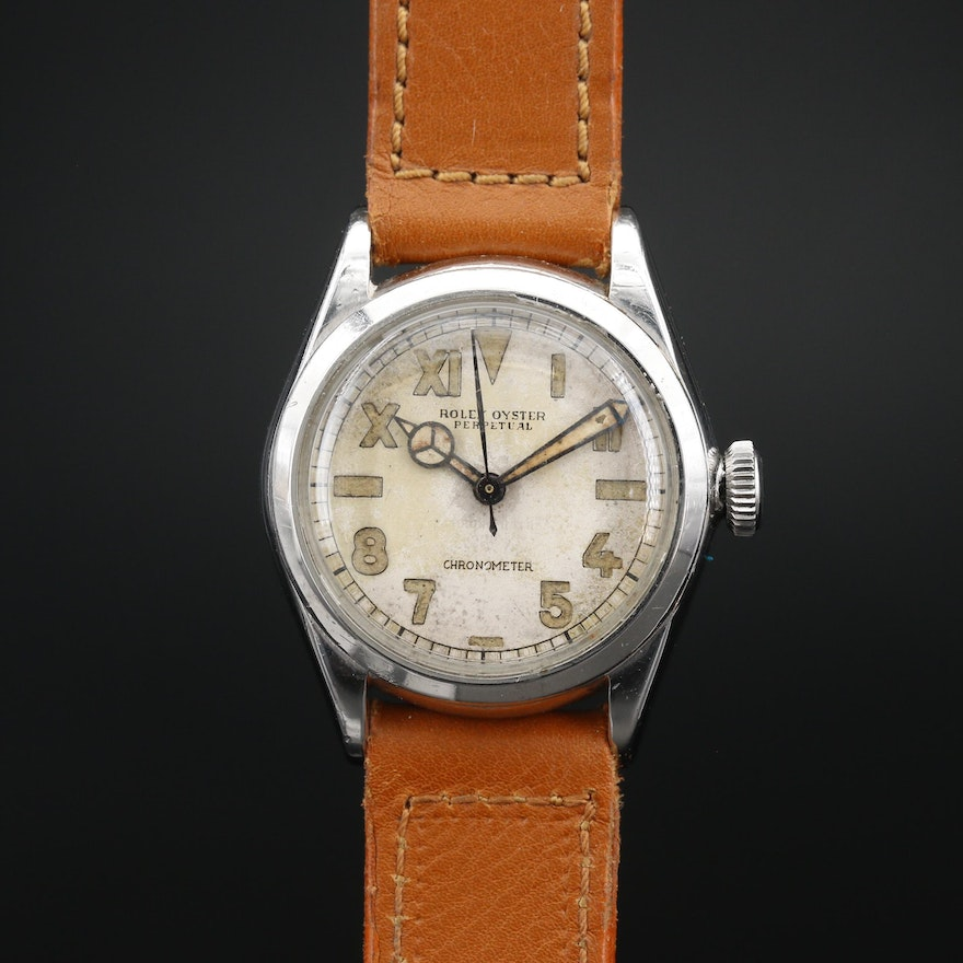 1942 Rolex Oyster Perpetual California Dial Stainless Steel Stem Wind Wristwatch