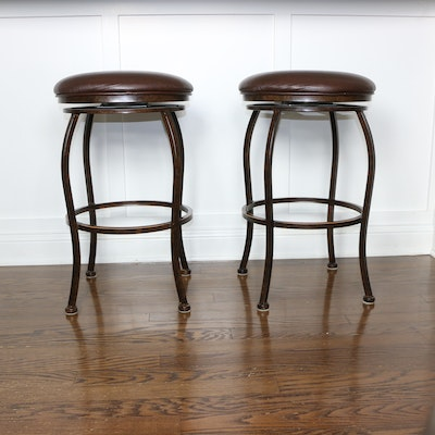 Pair of Minson Corporation Faux Leather Upholstered Metal Barstools