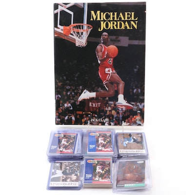Michael Jordan Basketball and Baseball Cards with 1992 Jack Clary Hardcover Book