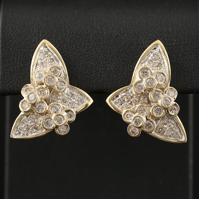 18K 1.63 CTW Diamond Flower Motif Drop Earrings