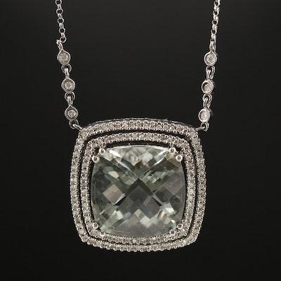 14K 16.40 CT Prasiolite and Diamond Necklace