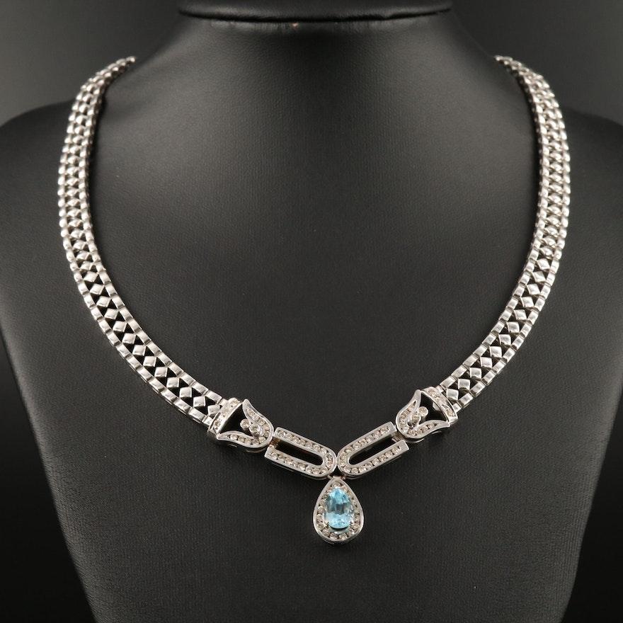 18K Topaz and 1.67 CTW Diamond Necklace