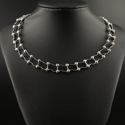 18K Diamond Ladder Link Collar Necklace
