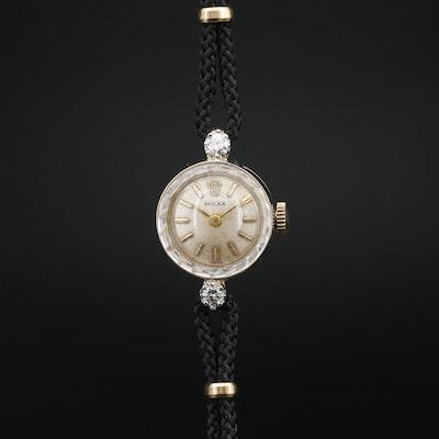 Vintage Rolex Diamond and 14K Gold Stem Wind Wristwatch