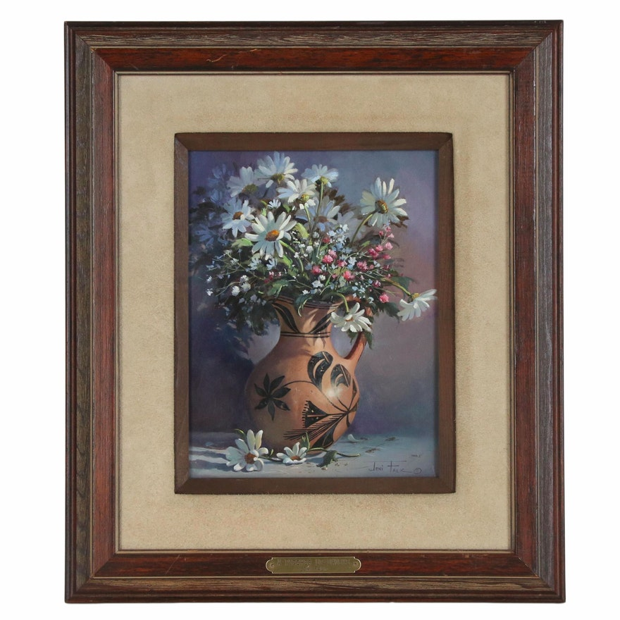 "Joni Falk Still Life Oil Painting ""A Pitcher of Daisys"""