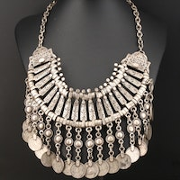 Berber Fringe Necklace with Miniature Turkish Coin Replicas
