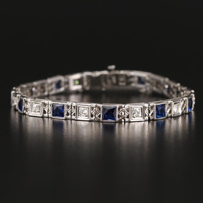 18K Diamond and Sapphire Line Bracelet