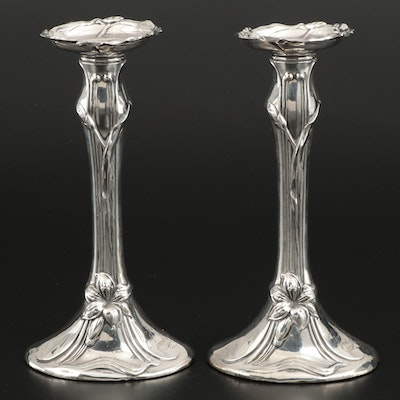 Woodside Sterling Art Nouveau Sterling Silver Candlesticks, Early 20th Century