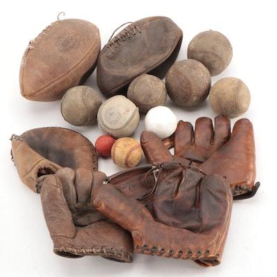 Baseball Gloves, Footballs, Softballs, Polo Ball and More, Early to Mid 20th C.