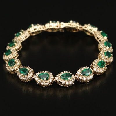 14K Emerald and 3.52 CTW Diamond Bracelet