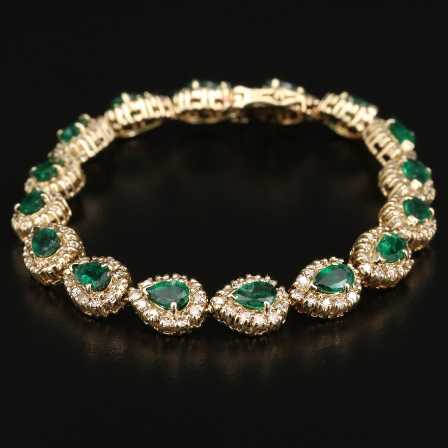 14K Emerald and 3.52 CTW Diamond Bracelet