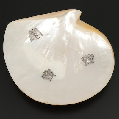 Mother-of-Pearl and Sterling Silver Butterfly and Ball Foot Dish
