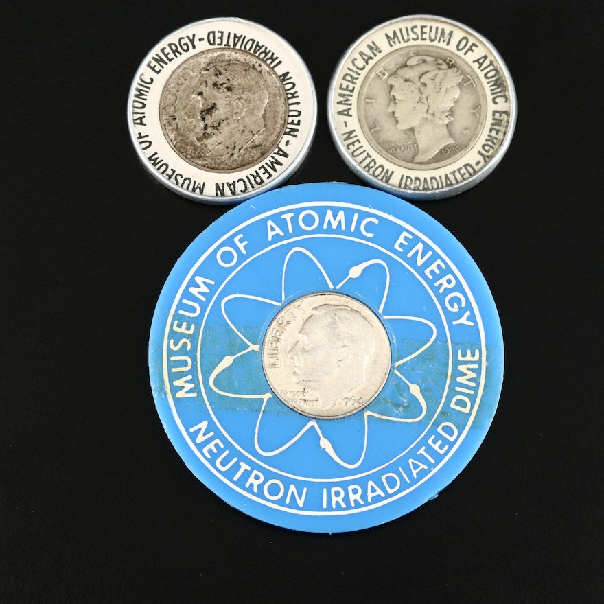 Two Irradiated U.S. Silver Dimes from the American Museum of Atomic Energy