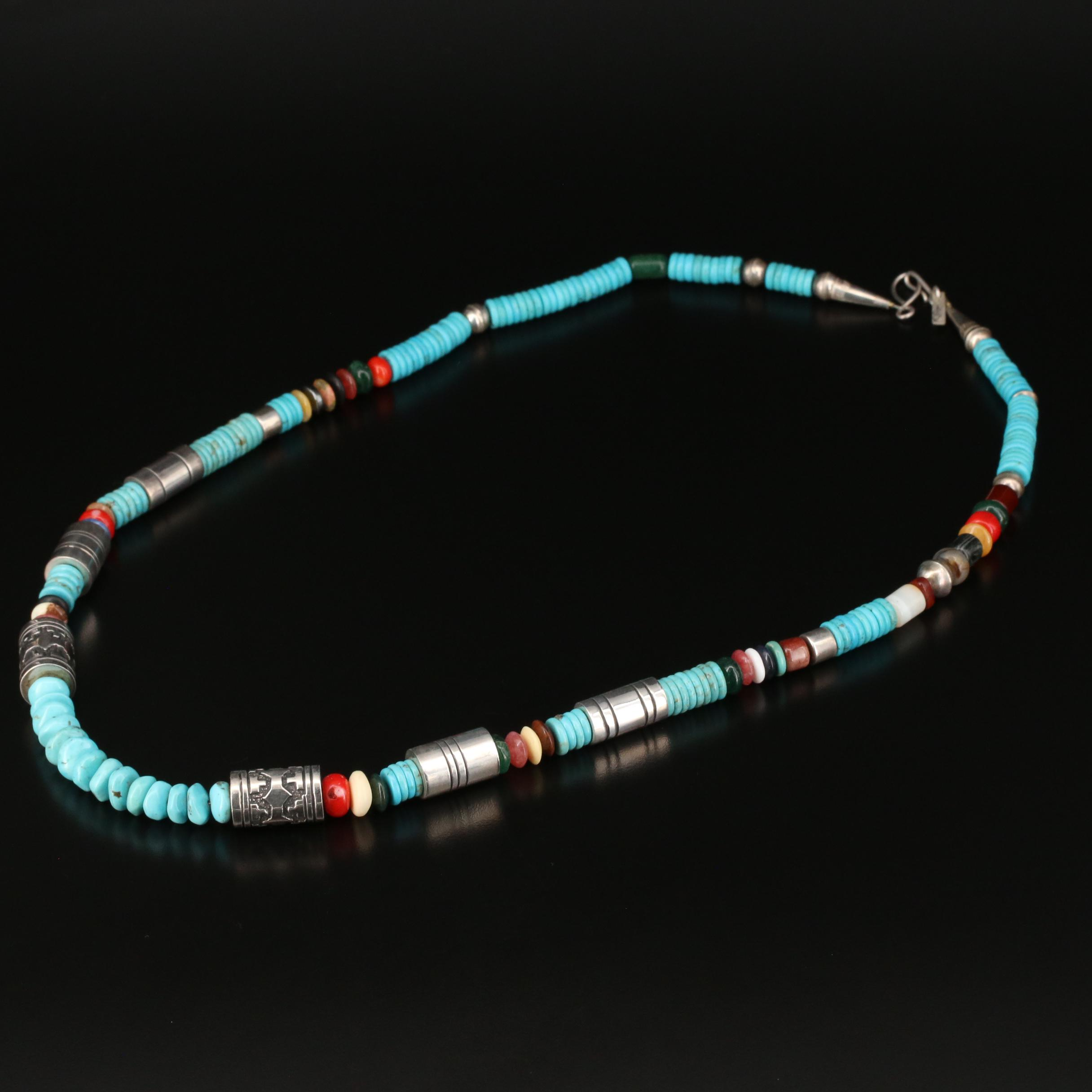 Black Onyx Heishe Turquoise and Coral Mother of pearl Multi Strand Necklace