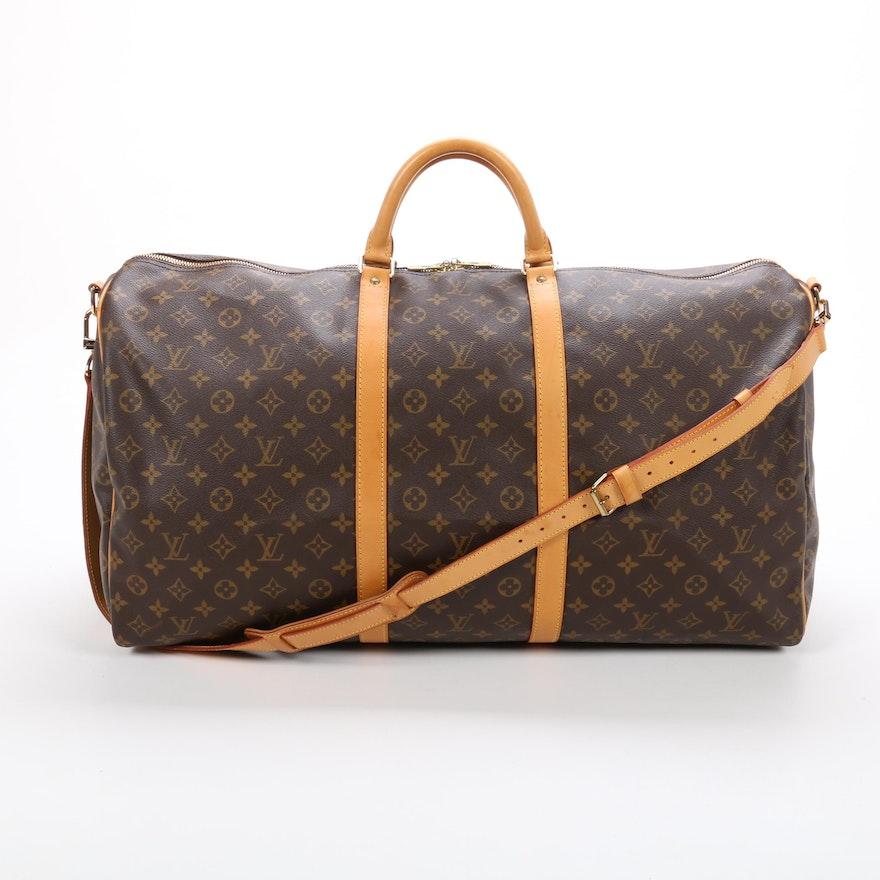 Louis Vuitton Keepall 60 Duffel in Monogram Canvas and Vachetta Leather