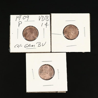 "Three 1909 ""VDB"" Indian Head One Cent Coins"