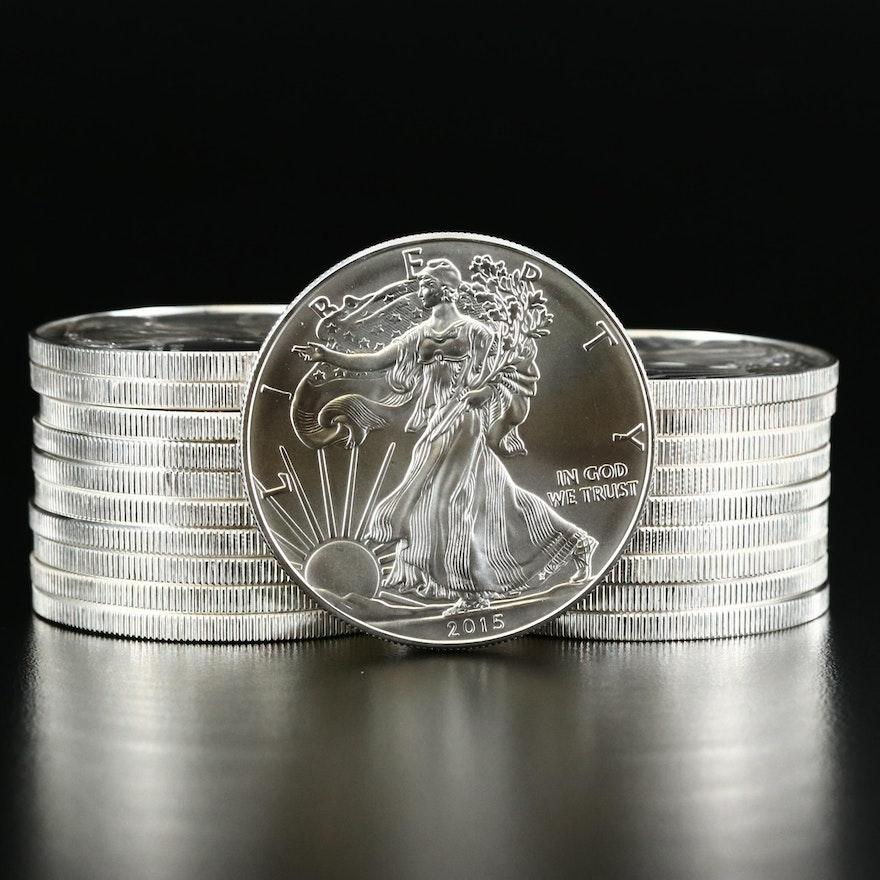 Mint Roll of Twenty .999 Fine Silver Silver Eagle Bullion Coins, 2015