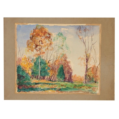 Robert Whitmore Autumnal Landscape Watercolor Painting, 1952