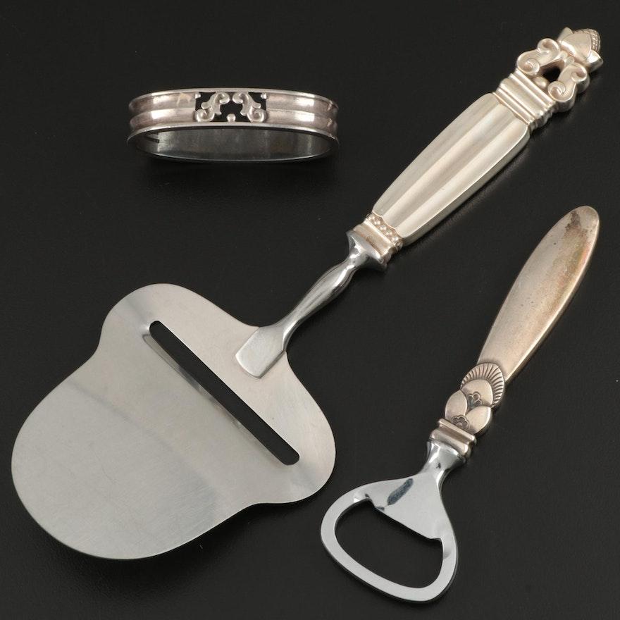 Georg Jensen Sterling Silver Bottle Opener, Cheese Slicer and Napkin Ring