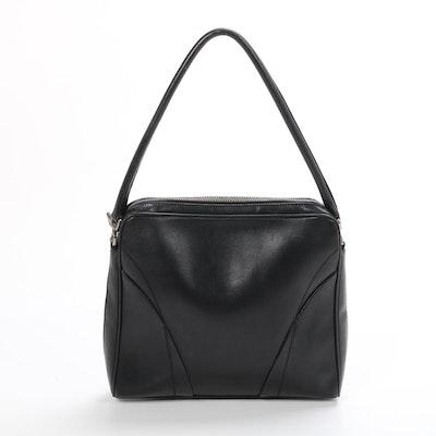 Prada Black Leather Topstitch Shoulder Bag
