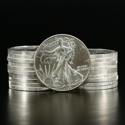 Mint Roll of Twenty .999 Fine Silver Silver Eagle Bullion Coins, 2014