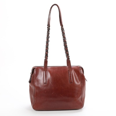 Prada Leather Shoulder Bag in Mahogany with Interwoven Leather and Chain Strap