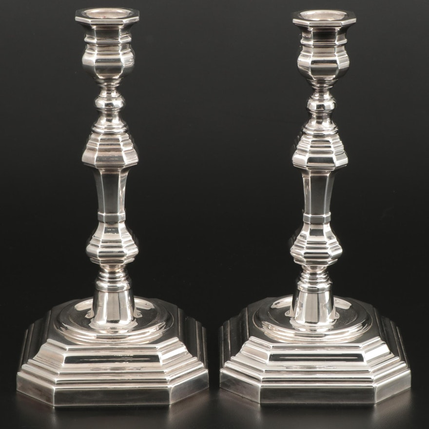 Pair of Queen Anne Style Sterling Silver Candlesticks, Mid to Late 20th Century