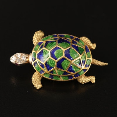 18K Diamond, Ruby and Enamel Articulated Turtle Brooch with 14K Accent