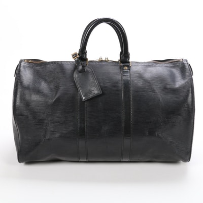 Louis Vuitton Keepall 45 in Black Epi Leather