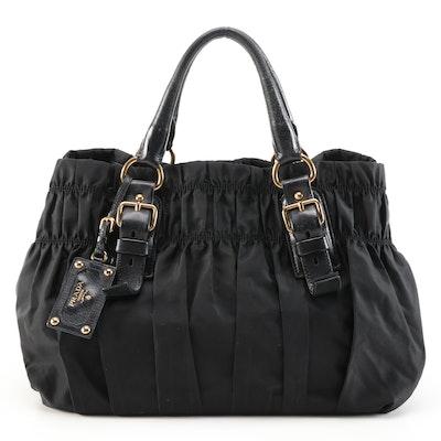 Prada Gathered Black Tessuto Nylon Handbag