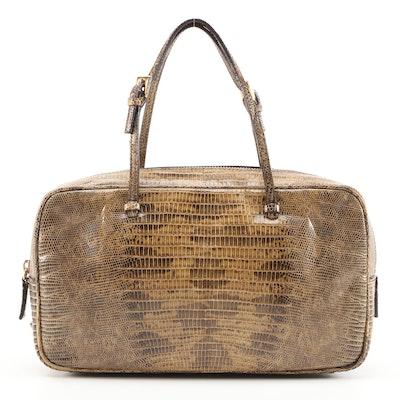 Prada Lizard Skin Top Handle Bag in Giunco