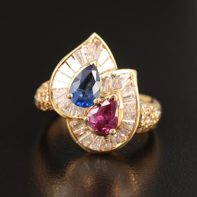 18K Sapphire, Ruby and 1.08 CTW Diamond Ring