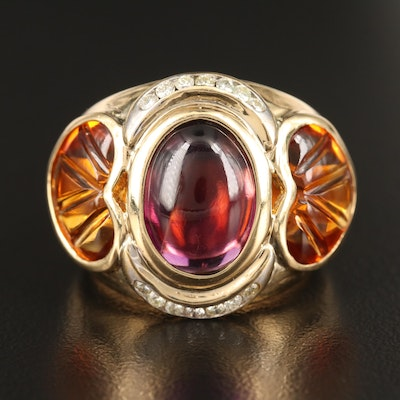 18K Amethyst and Citrine Ring with Diamond Accents