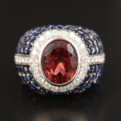 Valente 18K 4.02 CT Rubellite, Sapphire and Diamond Dome Ring