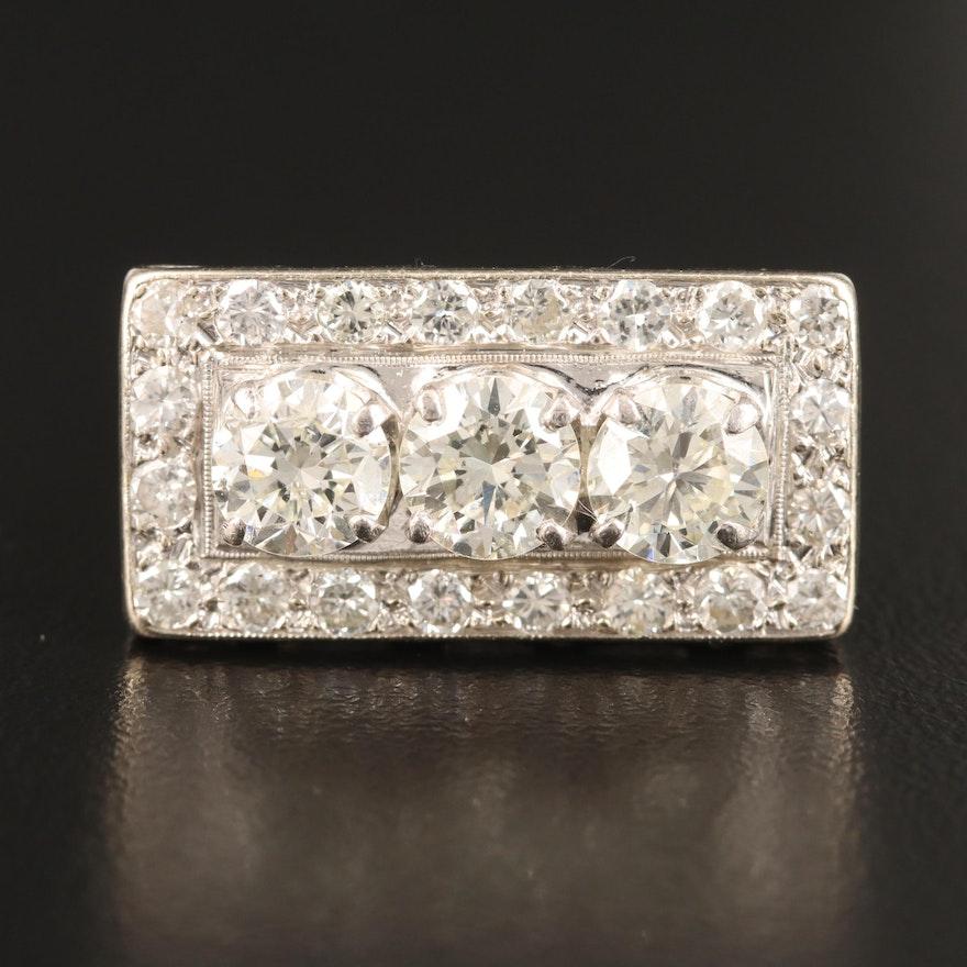 14K 3.00 CTW Diamond Rectangular Ring