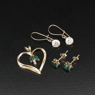 10K Emerald and Diamond Heart Pendant, Cubic Zirconia Dangle and Glass Stud