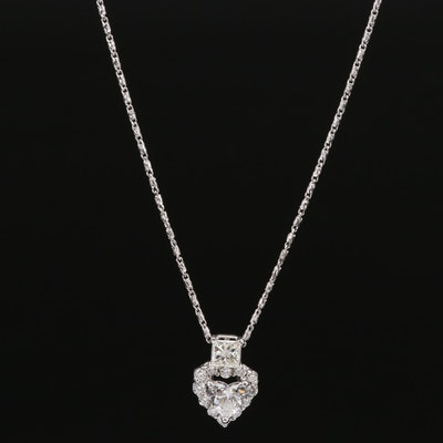 14K 0.99 CTW Diamond Heart Pendant Necklace